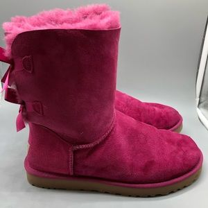 UGG bright pink Bailey bow back soft boots